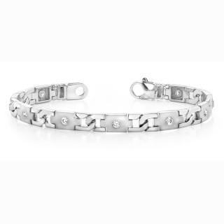 Men Gold Diamond Link Bracelet